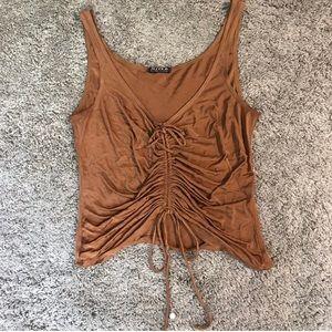 Tan/Brown Cinched Top